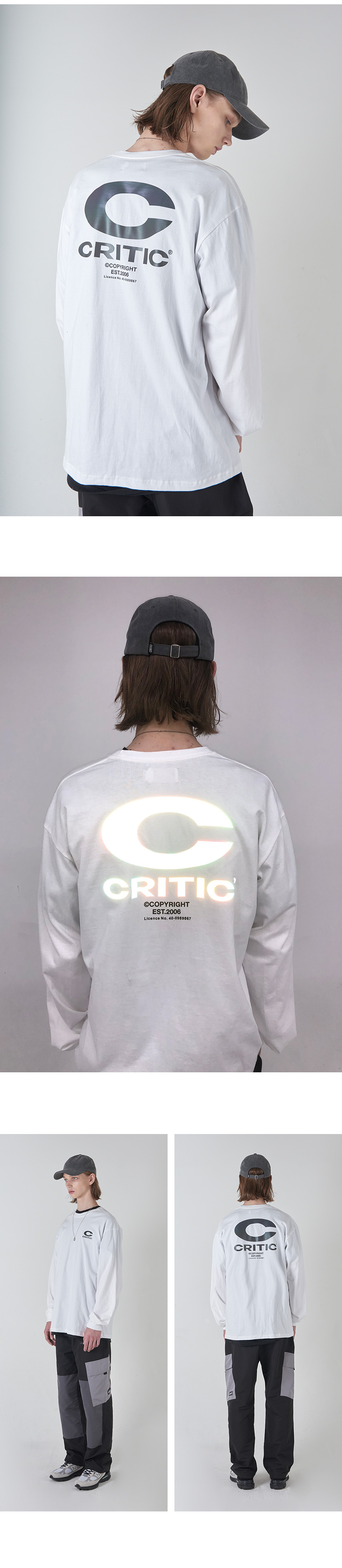 REFLECTIVE BIG C LOGO LONG SLEEVE T-SHIRT(WHITE)_CTONARL02UC2