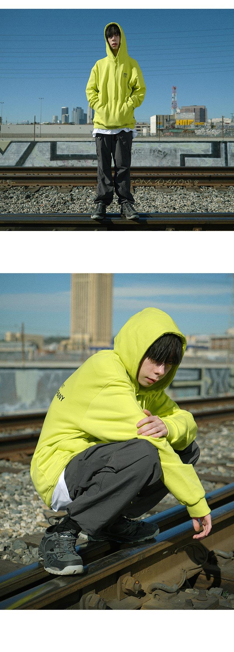 BACKSIDE LOGO HOODIE(NEON GREEN)_CTONPHD01UNG