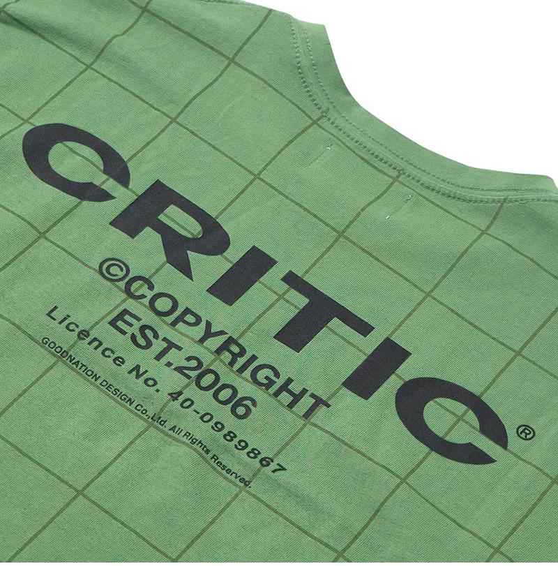크리틱(CRITIC) BACKSIDE LOGO GRID T-SHIRT(OLIVE GREEN)_CTONURS09UG4