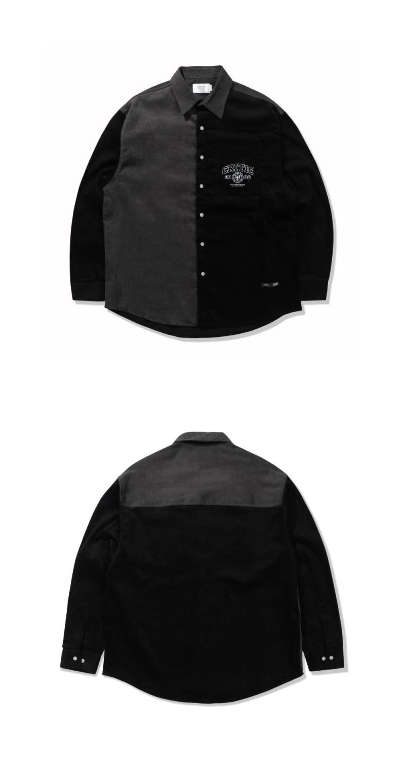 CORDUROY COLOR BLOCK SHIRTS(BLACK)_CTTZALS01UC6