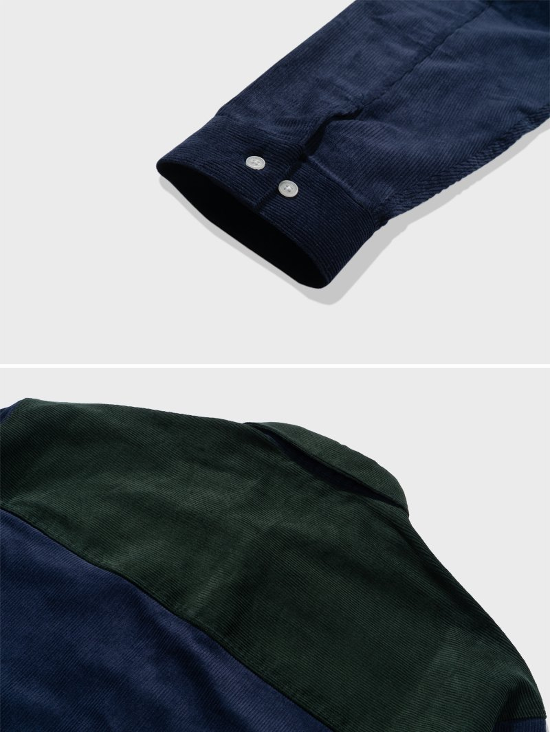 CORDUROY COLOR BLOCK SHIRTS(FOREST GREEN)_CTTZALS01UG1