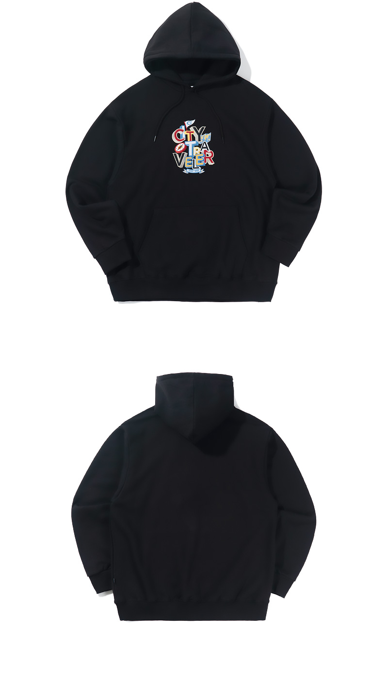 CITY TRAVELER EMBROIDERY HOODIE(BLACK)_CTTZPHD02UC6