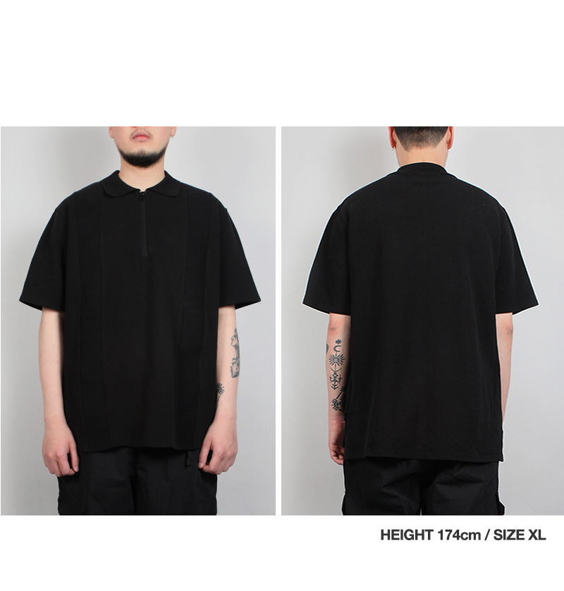HALF ZIP-UP PK SHIRT(BLACK)_CTTZURS40UC6