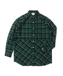 MFG CHECK BUTTON DOWN SHIRT(GREEN)_CMOEALS32UG0